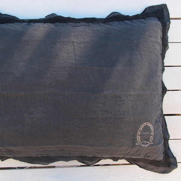 100% linen pillow case with lace detail (2 sizes, 7 colours)bed and philosophy- Cachette