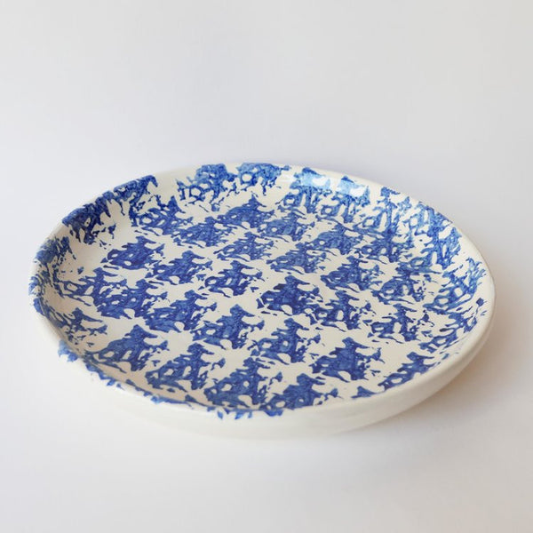 27cm handmade blue plate in glazed terracotta