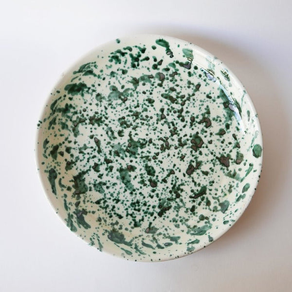 27cm handmade green plate in glazed terracotta (only 6 left !)Datcha- Cachette