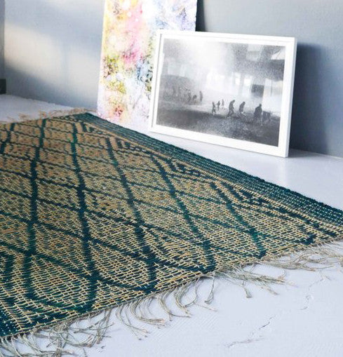 Handmade braided emerald rug 200x132cm for inside or outsideDatcha- Cachette