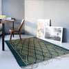 Handmade braided emerald rug 200x132cm for inside or outside