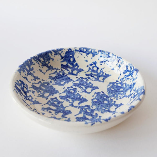 19cm handmade blue plate in glazed terracotta