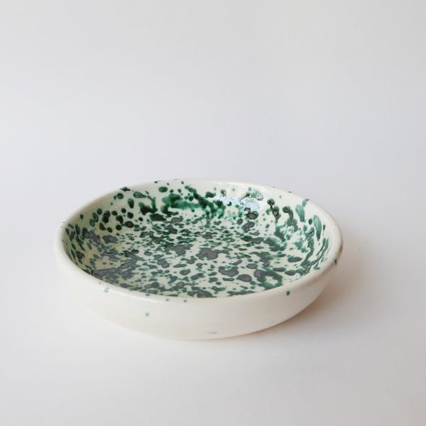 19cm handmade green plate in glazed terracotta