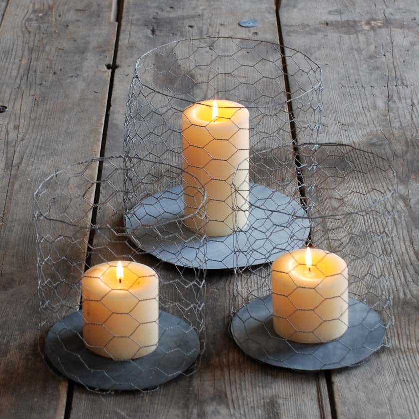 Galvanised wire candle holder Ø 22 cm, height 21 cmUn esprit en plus- Cachette