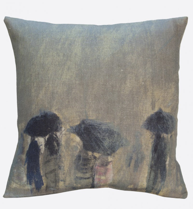 """Horizon de pluie"" linen cushion cover square (2 sizes - inner available too)Maison Lévy- Cachette"