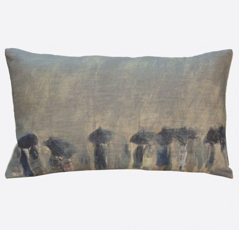 """Horizon de pluie"" linen cushion cover 50x30cm (inner available too)Maison Lévy- Cachette"