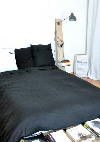 Duvet cover in pure black linen (single or double)VDJ- Cachette