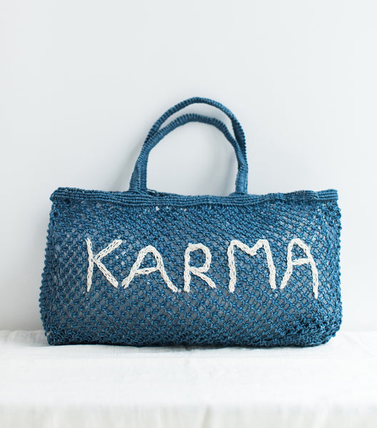 Blue summer jute bag Karma
