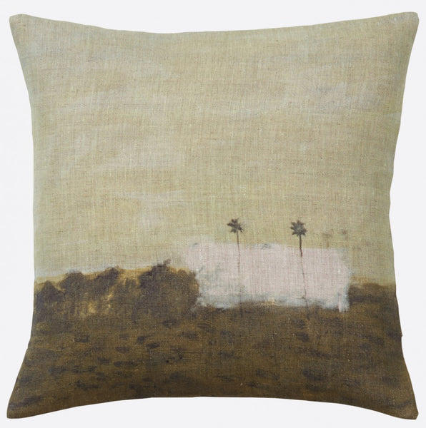 """Deux palmiers"" linen cushion cover square (2 sizes - inner available too)Maison Lévy- Cachette"