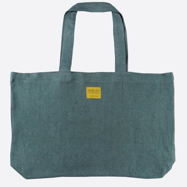 Blue-grey linen tweed tote bag (2 sizes)