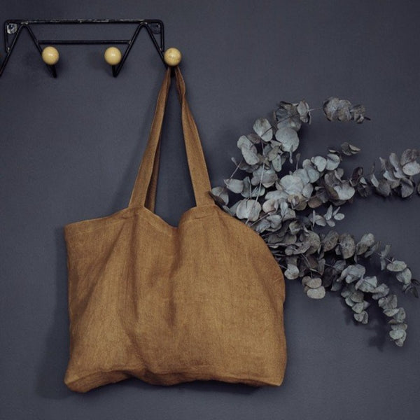 Ochre linen tweed tote bag (2 sizes)
