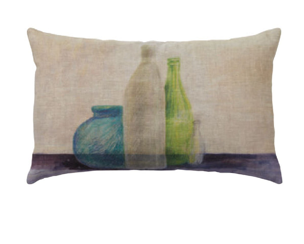 """Bottiglie"" linen cushion cover 50x30cm (inner available too)"