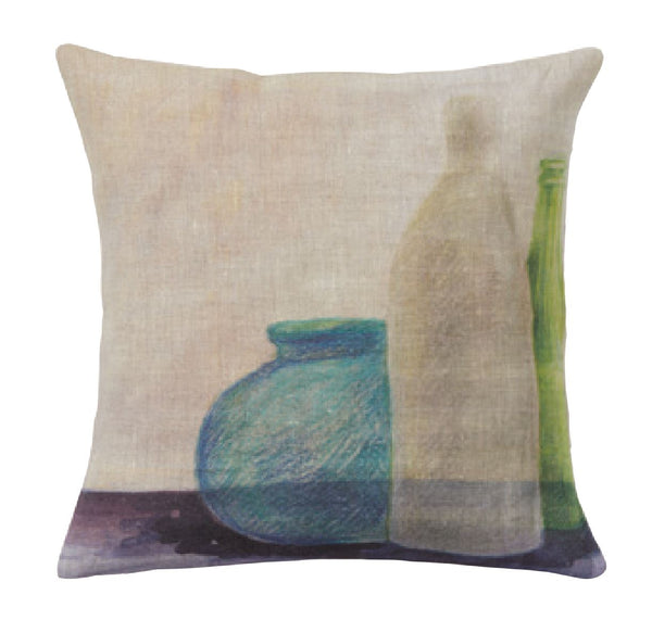 """Bottiglie"" square linen cushion cover (2 sizes - inner available too)"