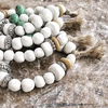 White and turquoise pompon bracelet