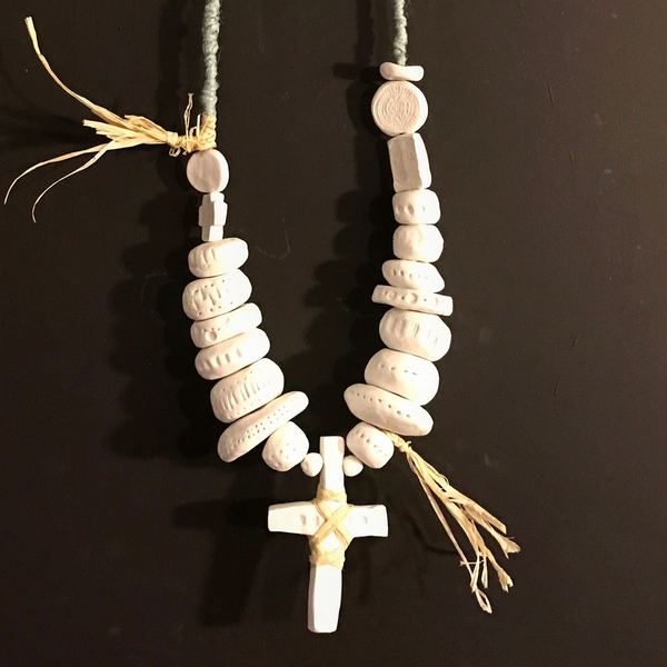 Large clay beads and cross necklace