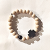 Wood and black stone cross braceletMechant Studio- Cachette