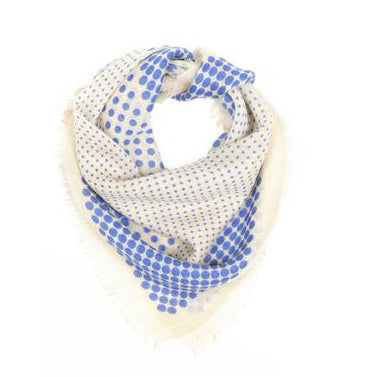 Dotted blue wool scarf 60x60cmMoismont- Cachette