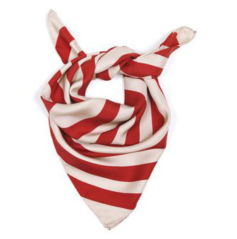 Red stripes silk scarf 60x60cm