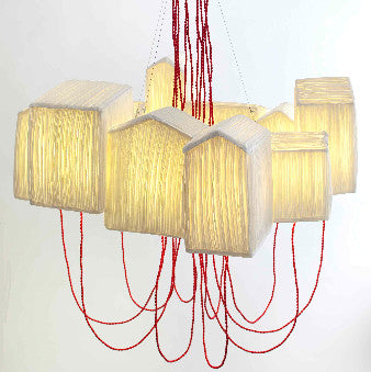 "Sculptural suspension light ""huts""papier a etre- Cachette"