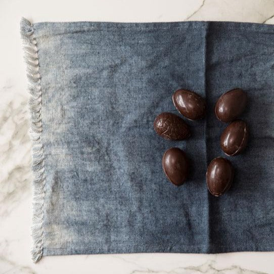 Set of two linen deep blue table mats