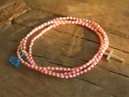 """Salvador"" cross and beads bracelet or necklace (3 colours)"