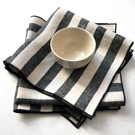 Large black stripes napkin in pure linenVDJ- Cachette