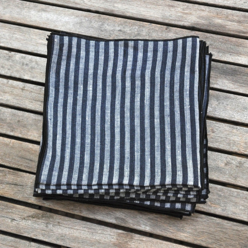 Thin dark black stripes napkin in pure linenVDJ- Cachette