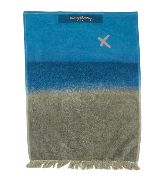Fringed guest towel kaki-bluebed and philosophy- Cachette