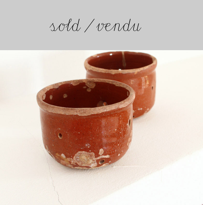 terracotta fromage blanc strainers turn candle holders...(SOLD)