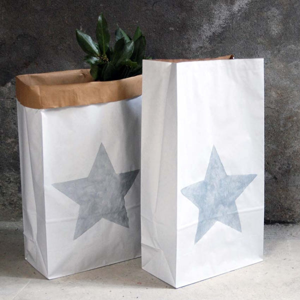 Large reusable durable kraft bag with silver star 60 x 32 cm