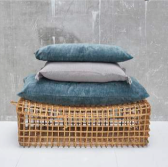 Velvet cushion in blue storm (three sizes available)bed and philosophy- Cachette