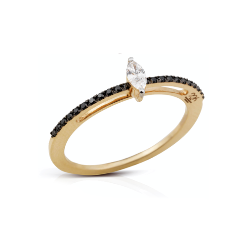 Moving Black Marquise Ring