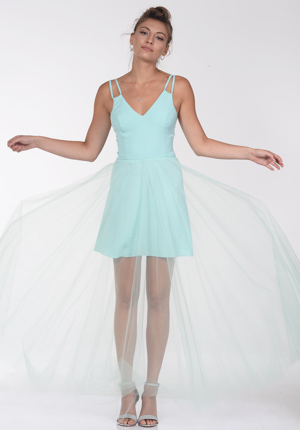 Tulle party dress - שמלת בל טול תכלת, שמלת ערב, מקסי