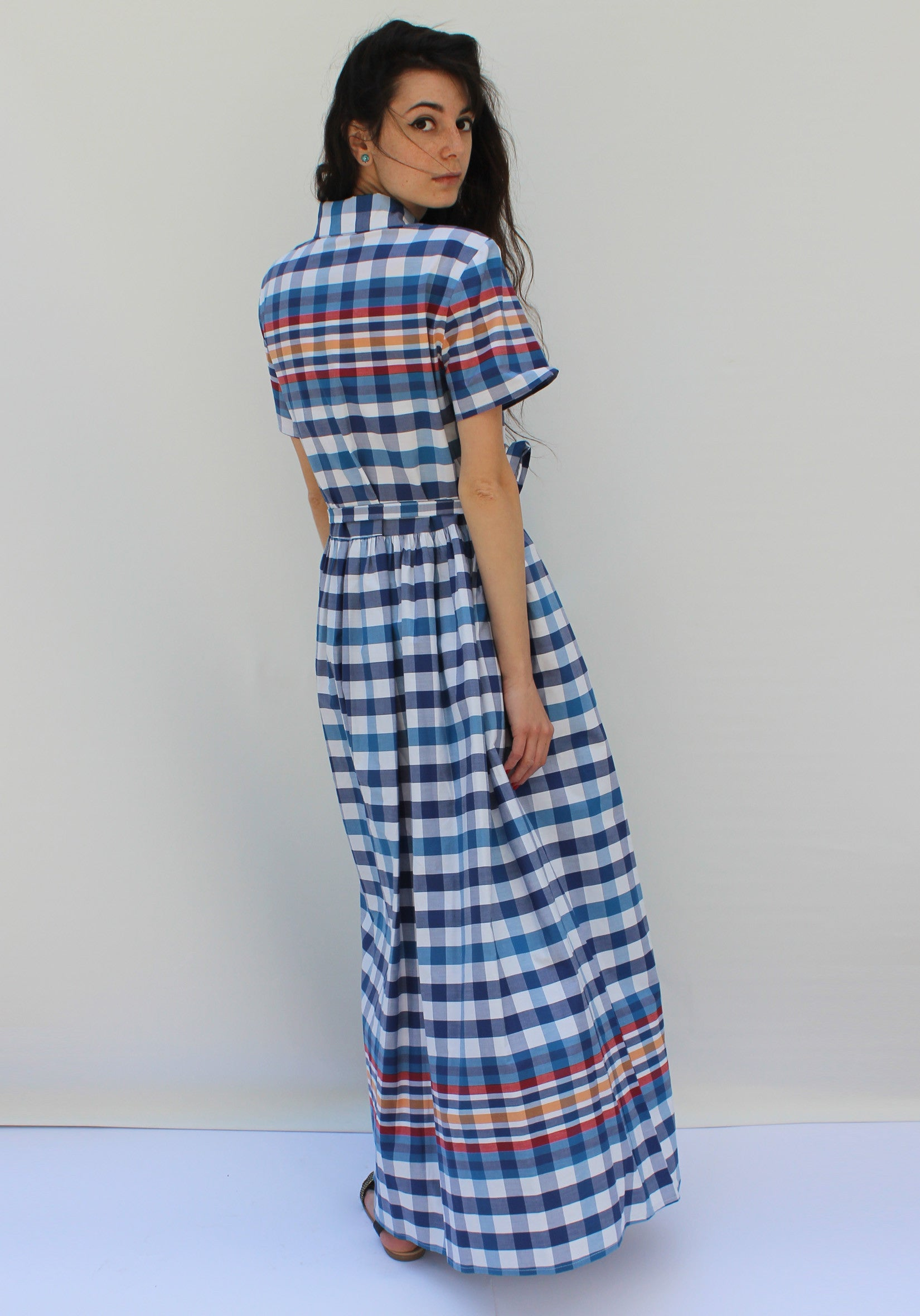 Plaids sunny dress - שמלת סאני מקסי משבצות