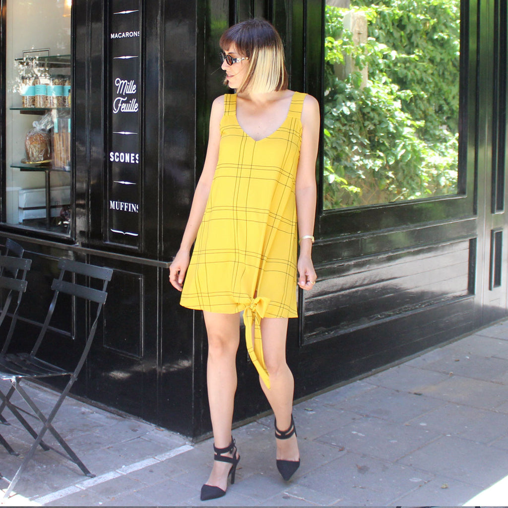Yellow plaids Nicki dress - ניקי משבצות צהוב