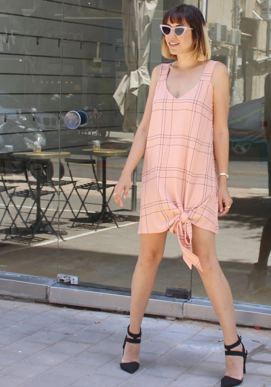 Blush plaids Nicki dress - ניקי משבצות פודרה