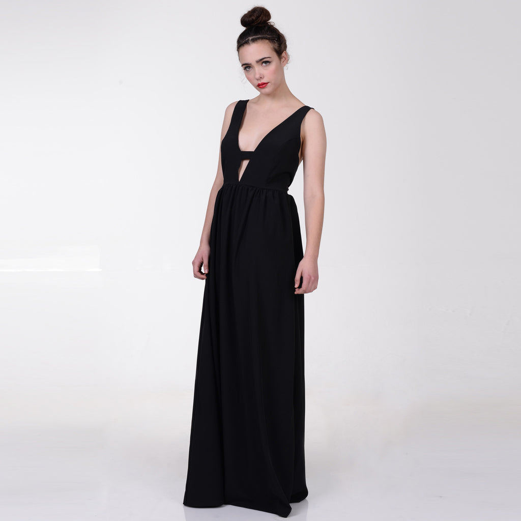 Black flame dress - שמלת פליים שחור, מחשוף וי, שמלת ערב,