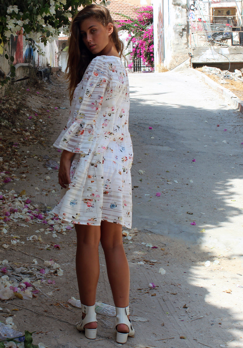 Floral white Blondie dress - שמלת בלונדי פרחוני לבן