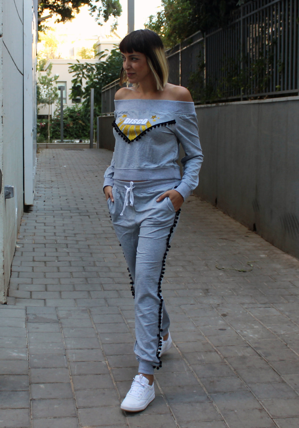 Gray Disco Fever Sweatshirt -סווטשירט דיסקו פיבר אפור