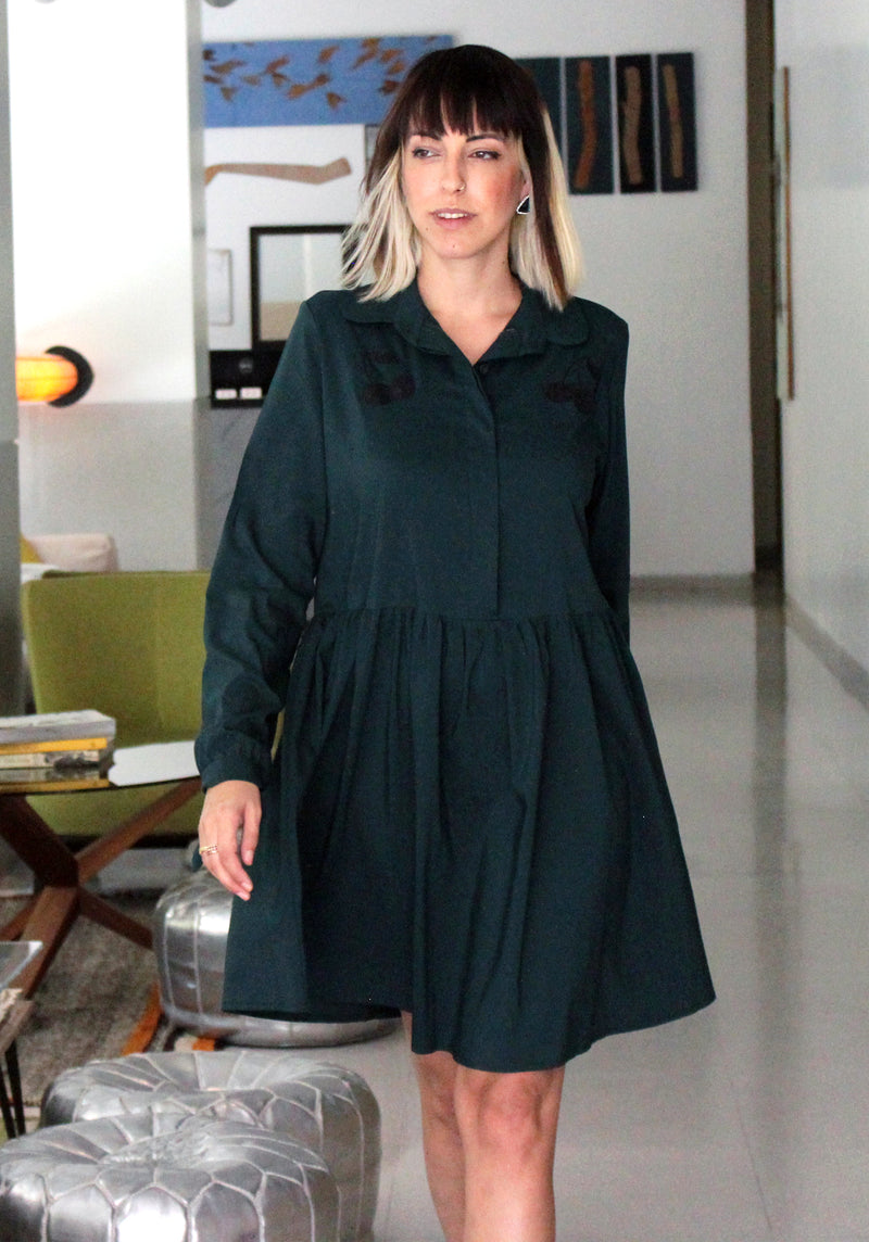 Green cherry dress שמלת צ'רי ירוק