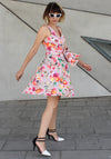 Pink floral mini Waves Dress - שמלת גלים קצרה פרחוני ורוד