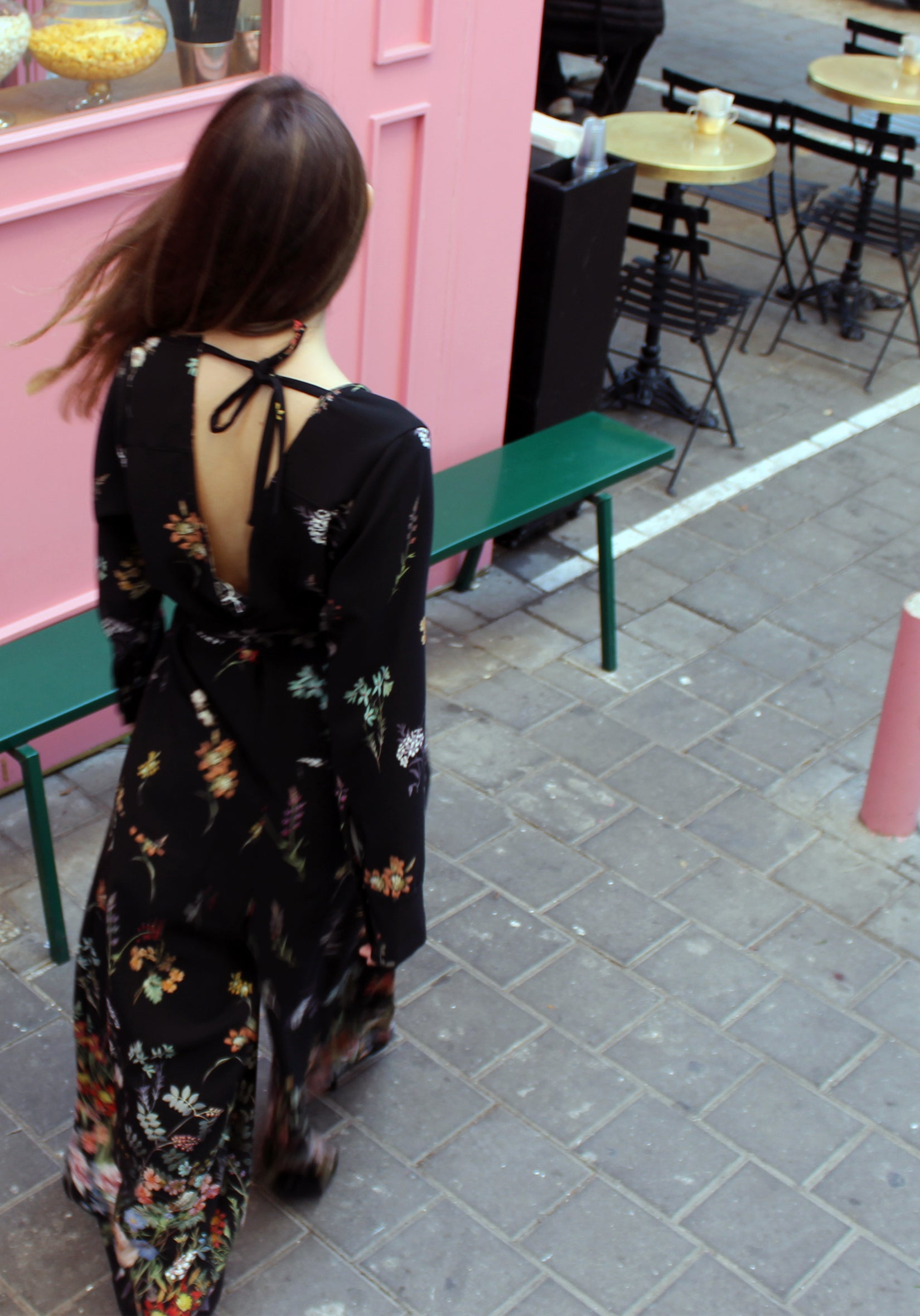 Black Flowers  Star Jumpsuit - אוברול סטאר פרחוני שחור