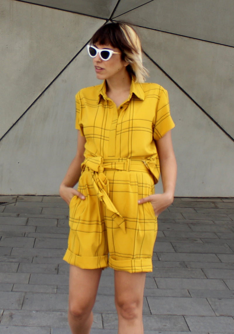 yellow plaids Babe set - סט בייב צהוב