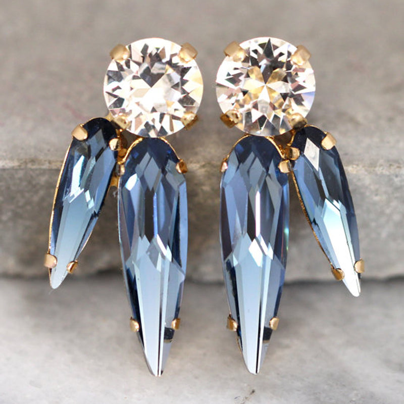 Blue Spike Earringss -עגילי ספייק כחול