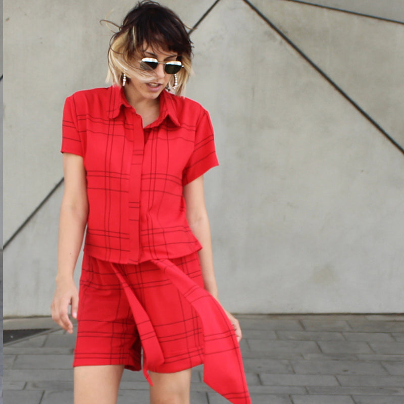 Red plaids Babe shirt - חולצת בייב משבצות אדום