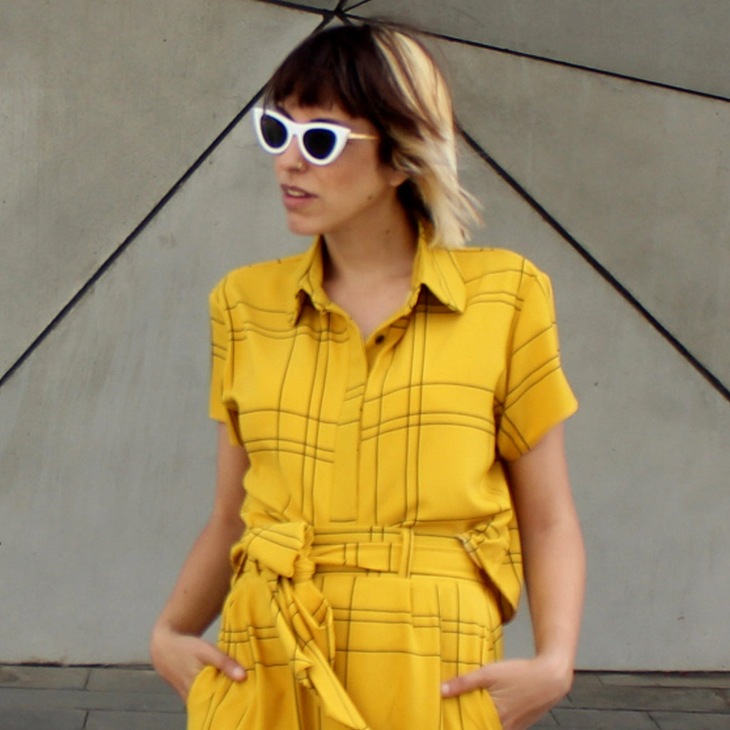yellow plaids Babe shirt - חולצת בייב משבצות צהוב