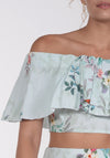 Light blue Strapless frill top -טופ סנדי תכלת