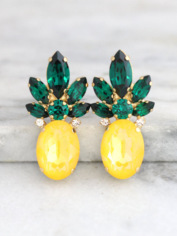 Big Pineapple Earrings - עגילי אננס גדולים