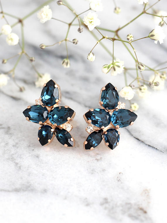 Blue Navy Mary Earrings - עגילי מרי כחול נייבי