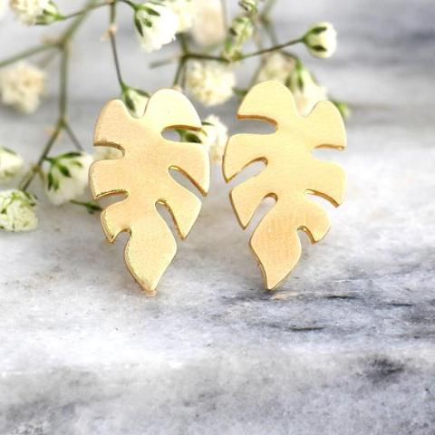 Palm leaf Earrings - עגילי דקל